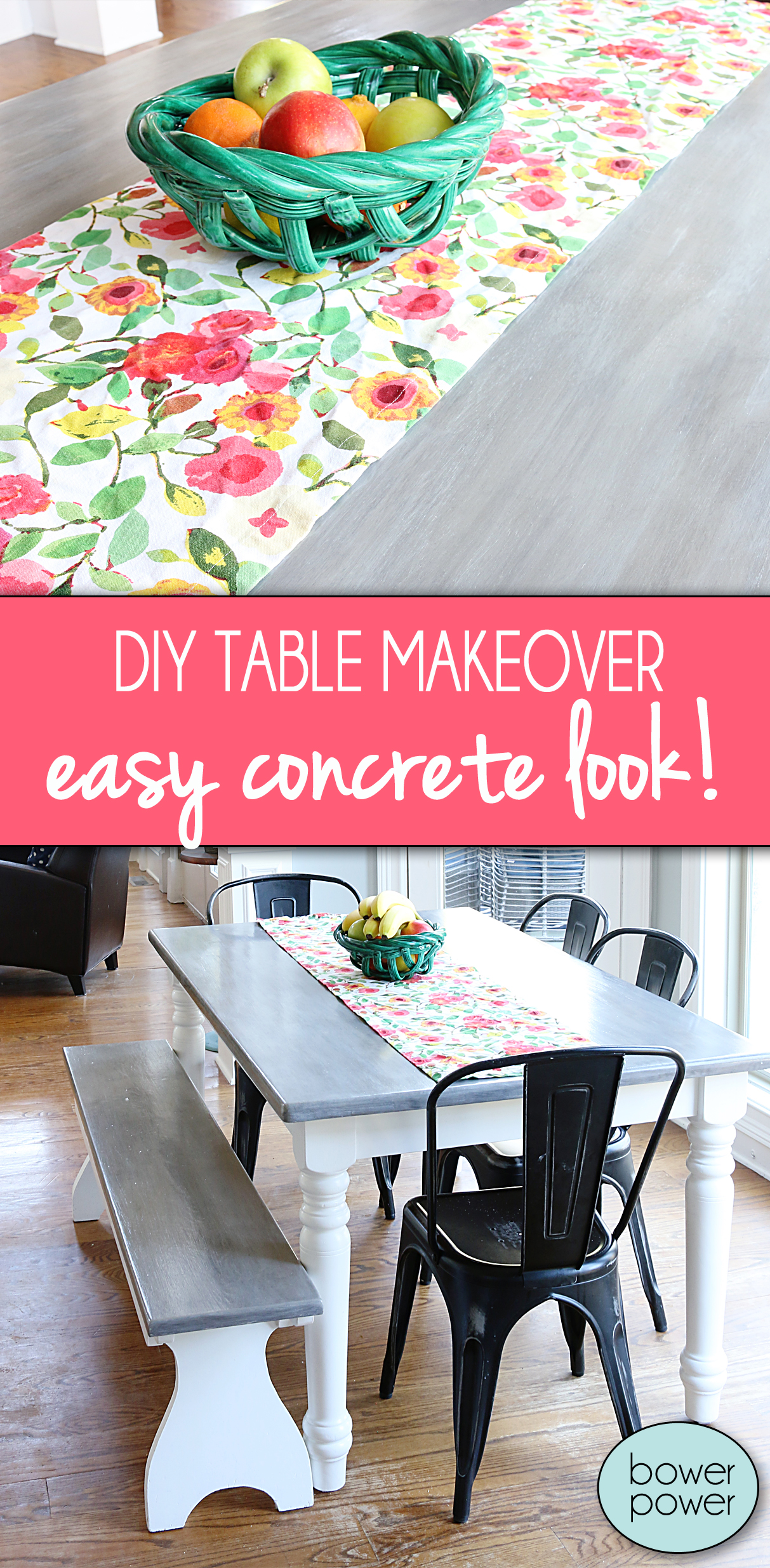 DIY Table Makeover - concrete look finish @bowerpowerblog