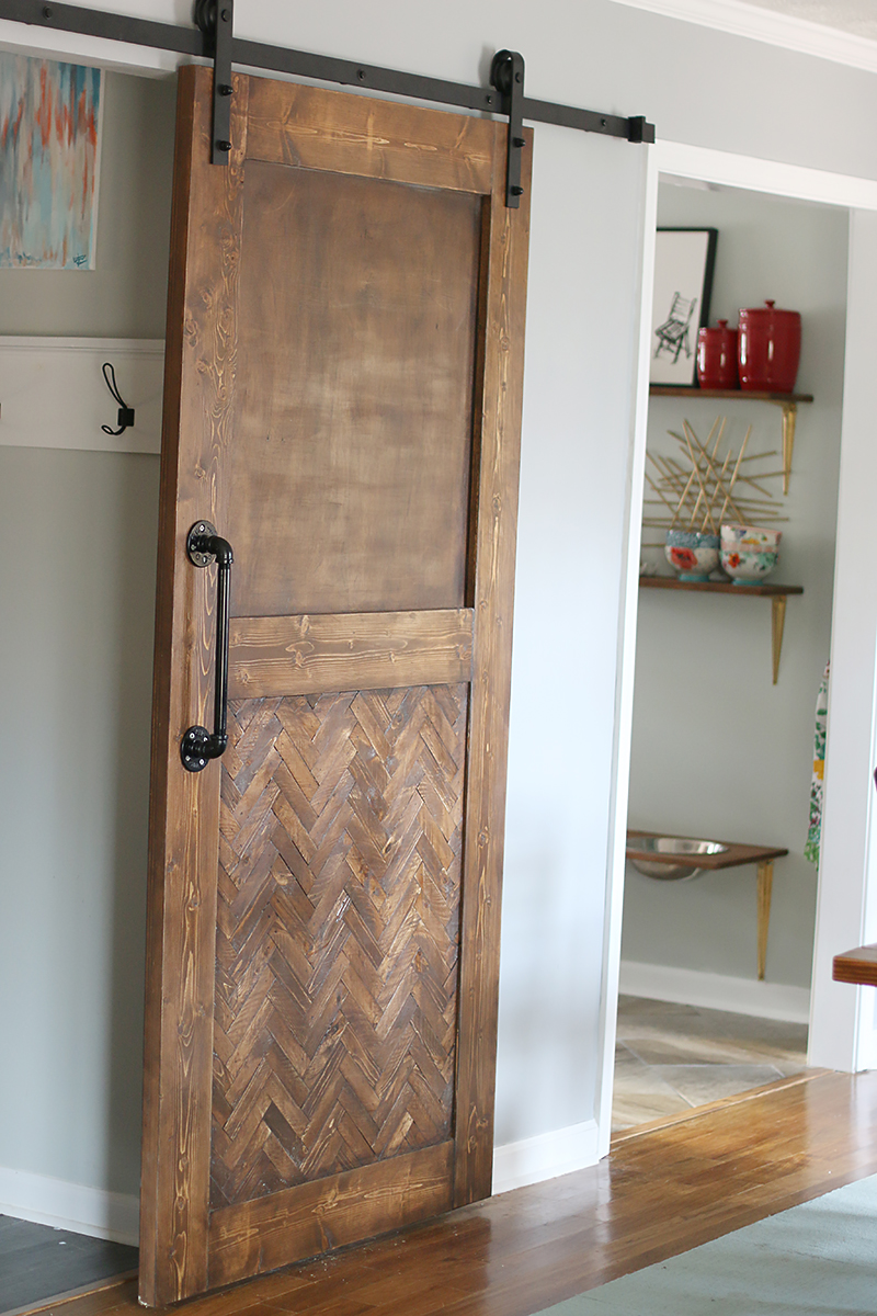 Dude i built a herringbone barn door bower power for Small closet barn door