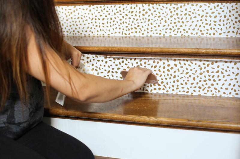 Wallpaper stairs DIY - Bower Power-12