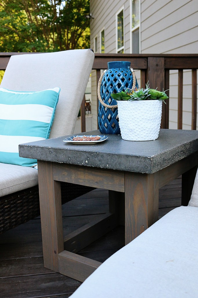 Concrete Amp Wood Outdoor Side Table Bower Power