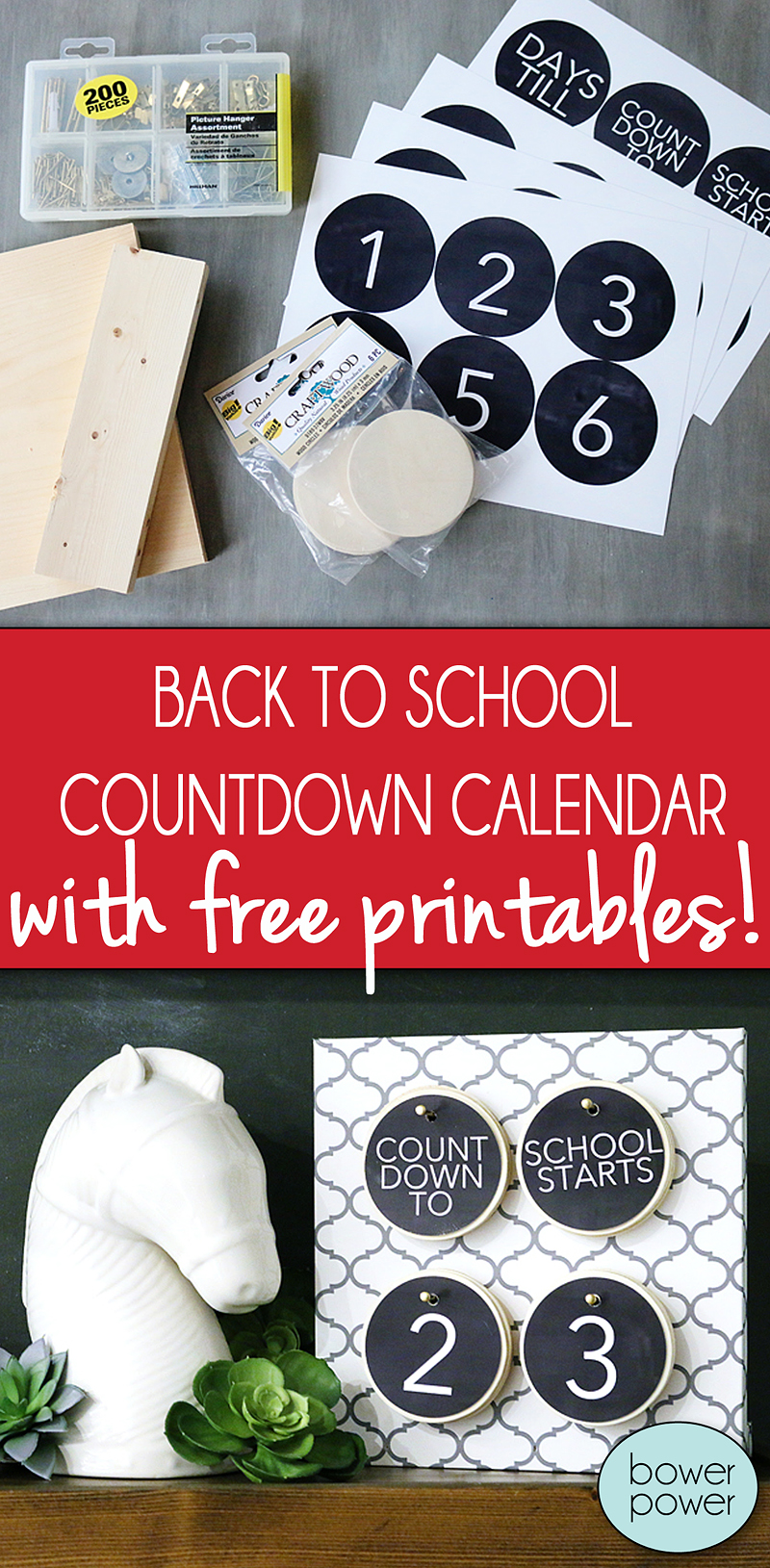 Back to school countdown calendar - Bower Power