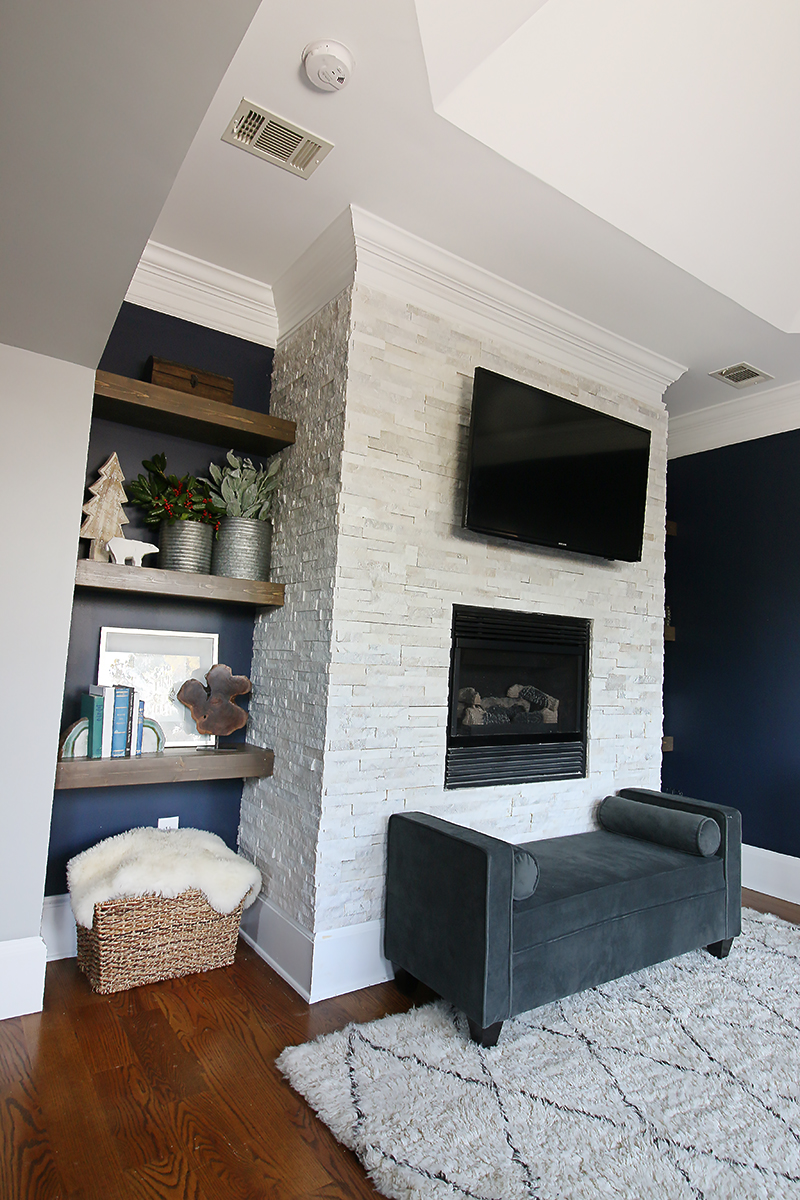 Stacked Stone Fireplace Surround - Bower Power