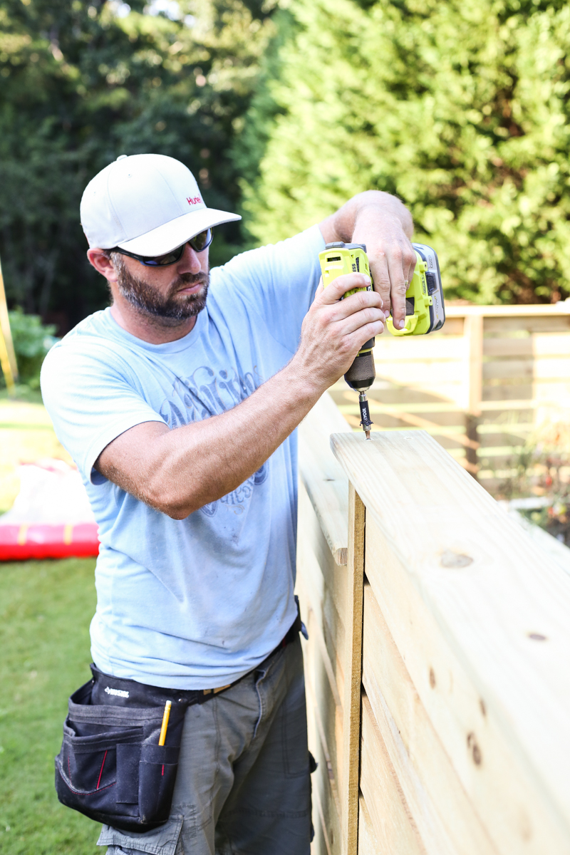 how to build horizontal modern wood fence - Bower Power-11