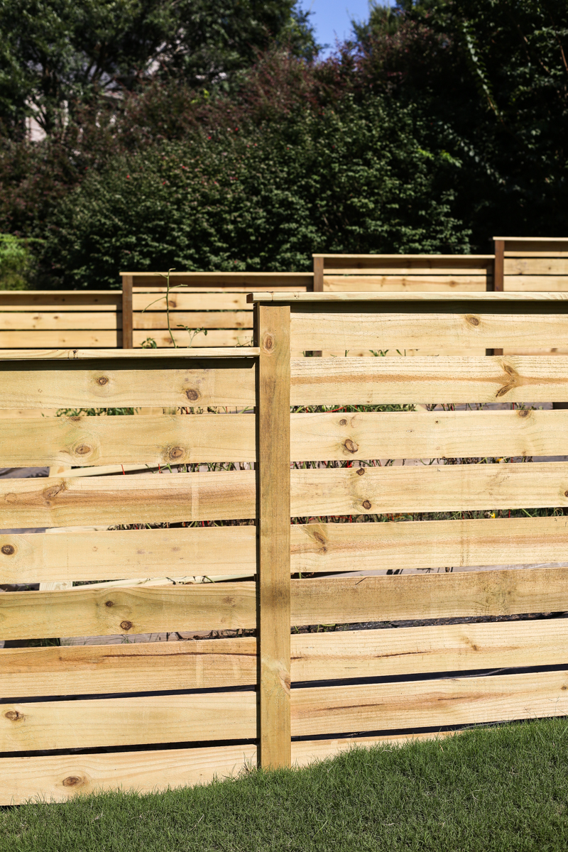 how to build horizontal modern wood fence - Bower Power-13
