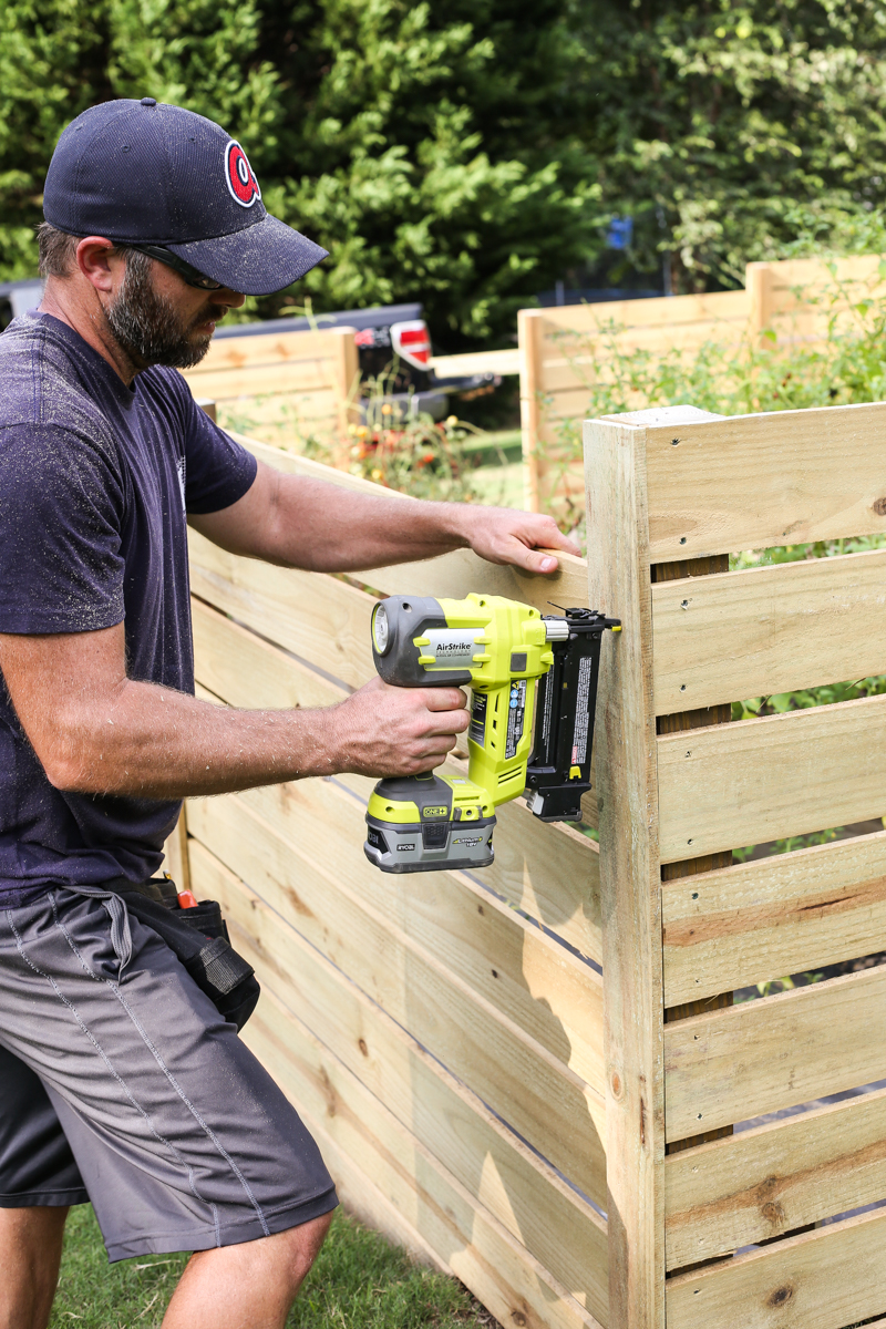 how to build horizontal modern wood fence - Bower Power-15