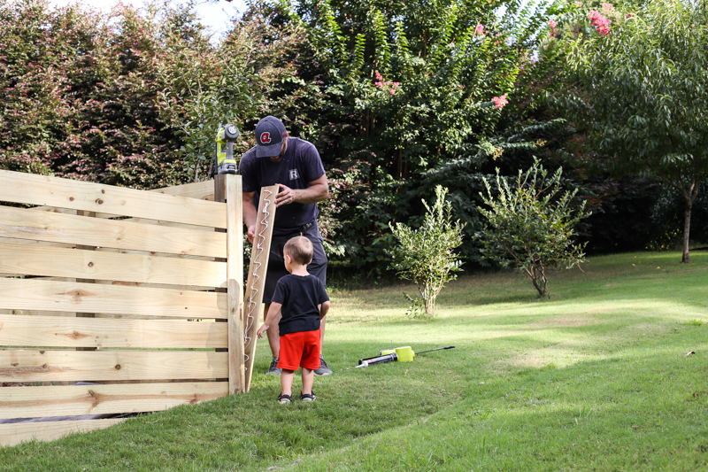 how to build horizontal modern wood fence - Bower Power-17