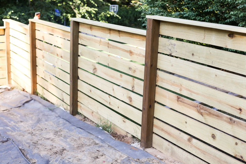 how to build horizontal modern wood fence - Bower Power-20