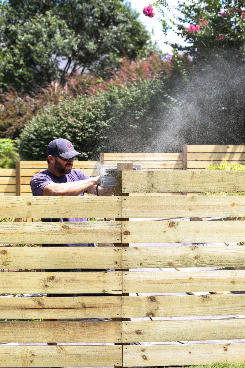 how to build horizontal modern wood fence - Bower Power-6